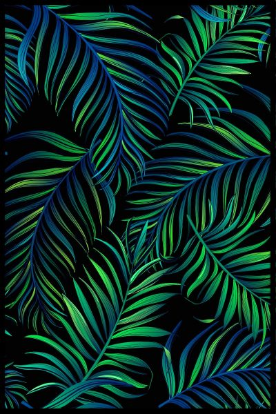 Green Palms Illustration Poster
