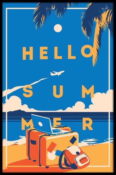 Hello Summer Vintage Poster