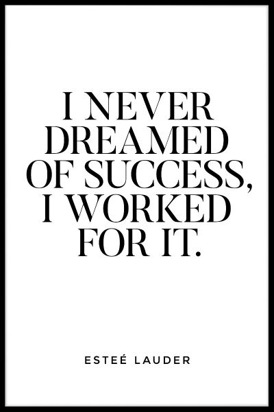 I Never Dreamed Of Success Poster