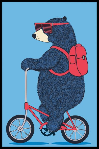 Bear On Bicycle Poster