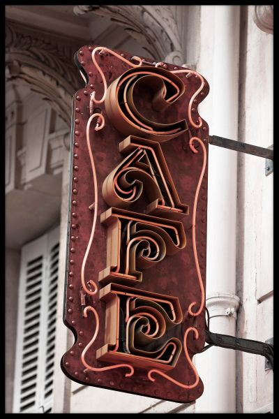 Cafe Sign Paris Poster