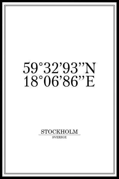 Stockholm Coordinates Poster