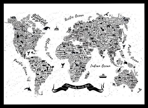 Black World Map Poster.Typhography World Map Poster