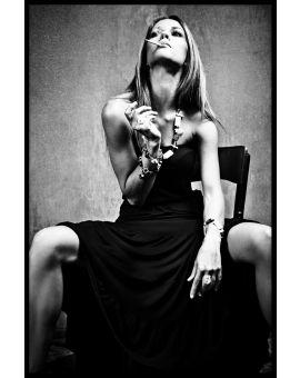 Woman Smoking Black & White Poster