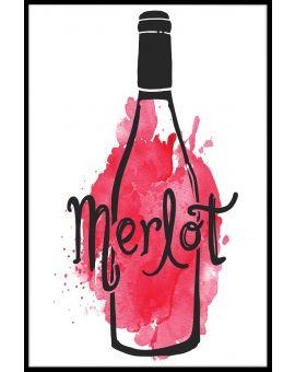 I Love Merlot Illustration Poster