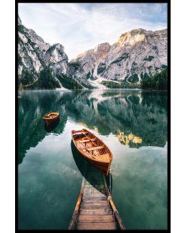 Dolomites Lake Wooden Boats Poster
