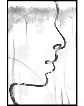 Abstract Face Line Art Poster