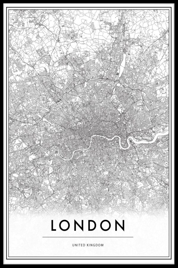 Map Of Uk Black And White.London United Kingdom Map Poster